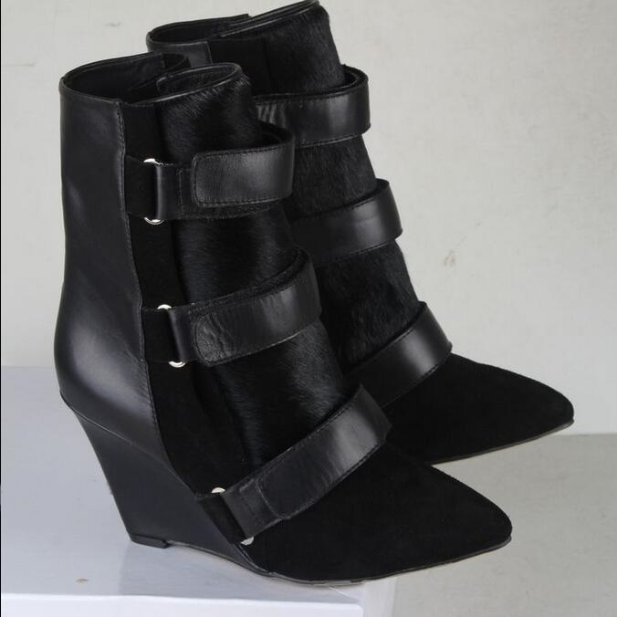 Autumn Winter 2017 Fashion Show Leather Wedge Ankle Boots Pointed Toe High Heel Hook&Loop Buckle Boots Shoes Snow Boots