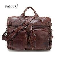 BAILLR Brand Men Business Briefcase Genuine Leather Luxury Design Cross Body Bag Fashion Men S Bag