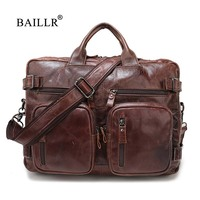 BAILLR Brand Men Business briefcase Genuine Leather luxury design cross body bag Fashion Men's bag multifunction casual style