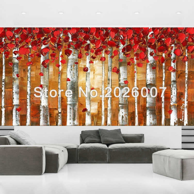 Hand Painted Landscape Abstract Palette Knife Red Birch Trees Oil Rhaliexpress: Paintings For Living Room With Birch Trees At Home Improvement Advice