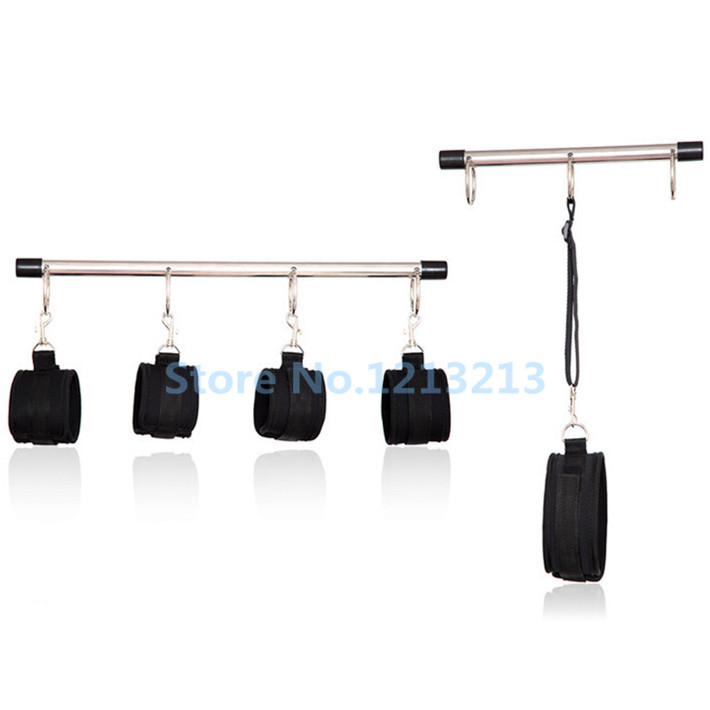 ФОТО Sex Bondage Restraints Stainless Steel Spreader Bar Sex Toys For Couples Slave Collar & Hand Cuffs & Ankle Cuffs Sex Products