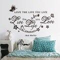 Y % de bob Marley Habitación Etiqueta de La Pared amor la vida que vives DIY Cartel TV Fondo de La Pared de la mariposa y de Vid Decoración Del Hogar que viven habitación