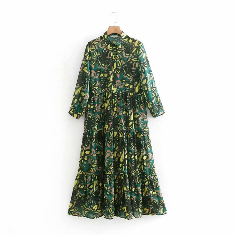 2019 Women Vintage Turn Down Collar Floral Print Casual Long Dress Female Pleated Ruffles Chiffon Vestidos Chic Dresses DS1909