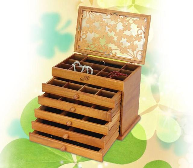 Clover real wood jewelry box retro style large multilayer marriage holiday gift makeup organizer storage box 32*20.5*25CM