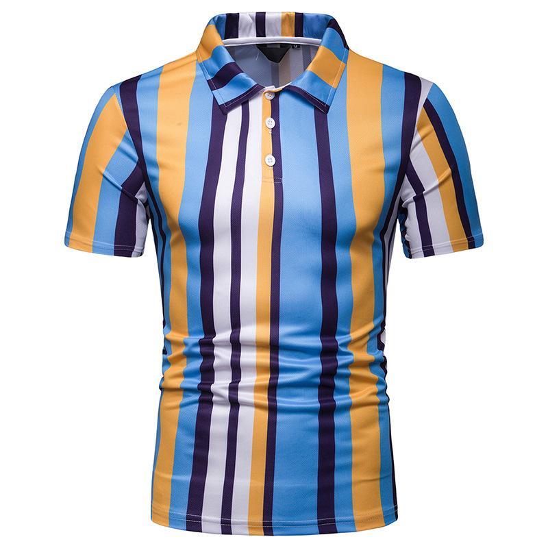 Vertical Stripes Men   Polo   Shirt Men's Clothing Hawaiian Casual Short sleeves Blusas Summer Tops Lapel   Polo   Shirt Men