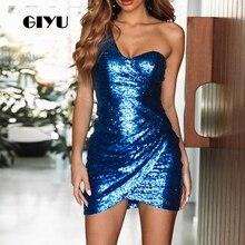 GIYU Women Dress Sequins Party Mini Dresses Slim Open Back Vestido de fiesta noche Sexy Skinny High Waist robe femme