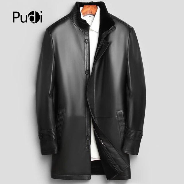 PUDI MT843 2018 Men new fashion real sheep leather jackets with collar fall winter casual outwear