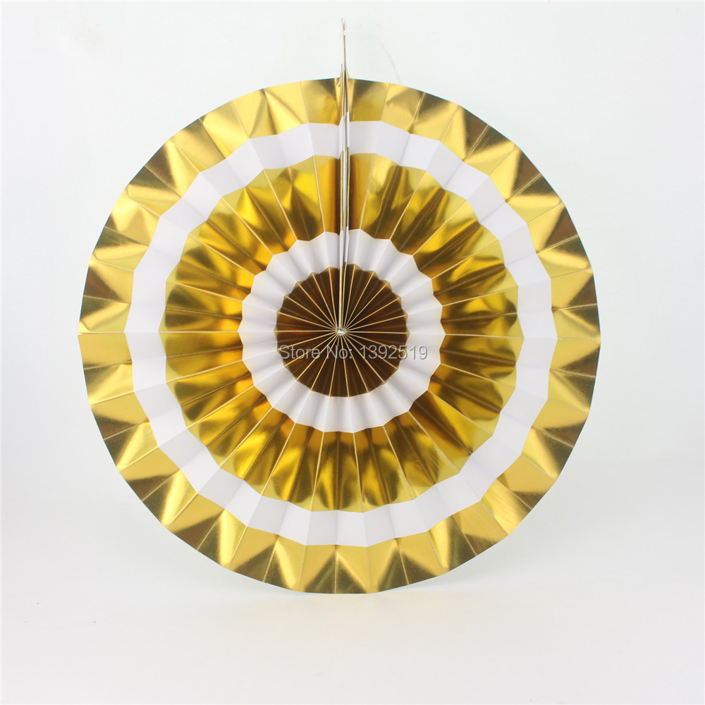 Foil Gold Silver Paper Fans Hanging Wall Decoration Fans Metallic ...
