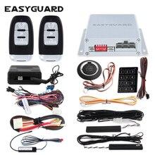 Universal PKE car alarm system smart key auto start push start button touch password entry backup hopping code & bypass module