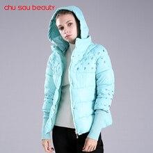 Chusaubeauty 2017 зимняя куртка женские зимние пальто парка с капюшоном feminino русский куртка Женская Стеганая куртка карман C3247
