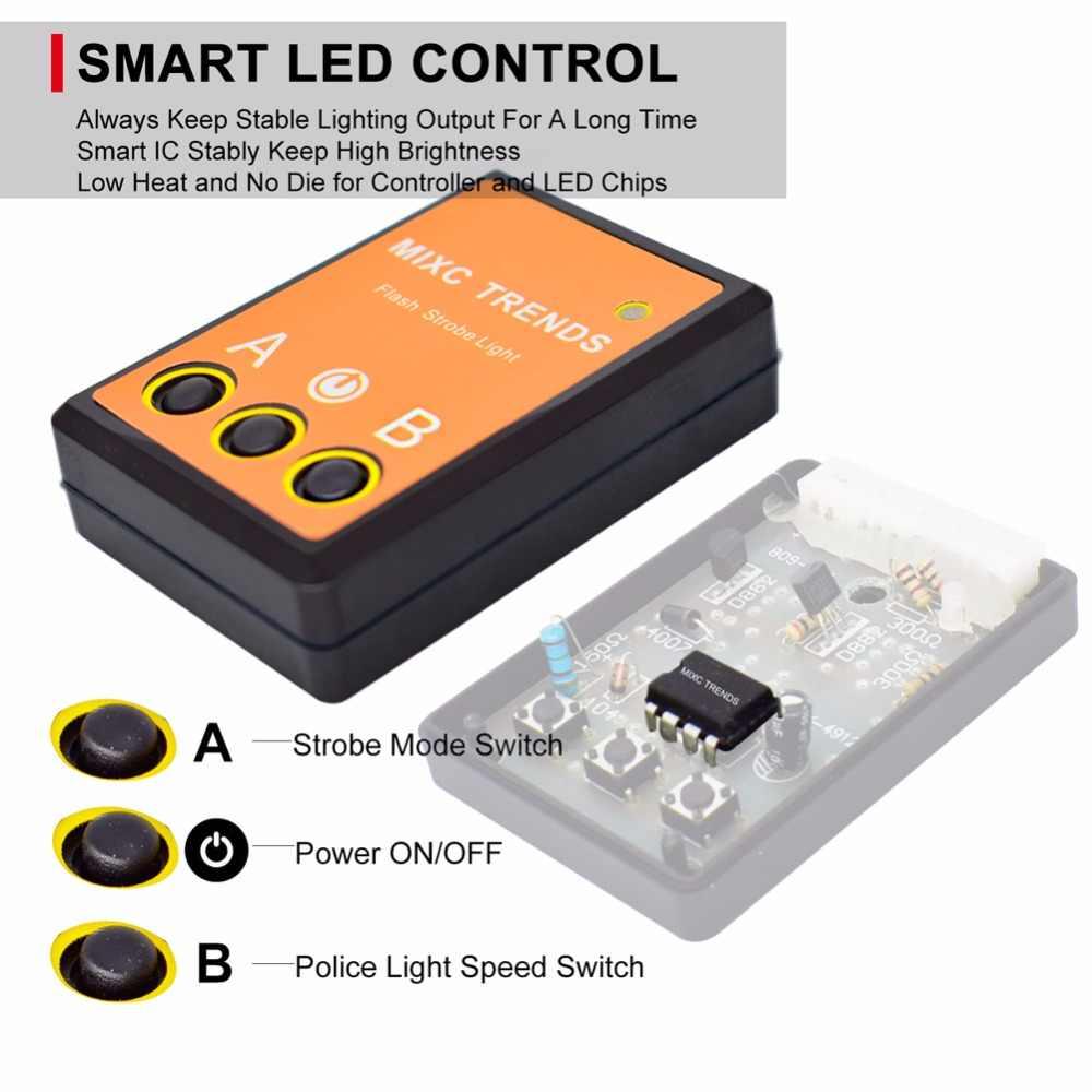 4 pçs 12 v led de emergência piscando luzes polícia vermelho azul âmbar carro luz estroboscópica kit com controlador pisca cigarro mais leve plug