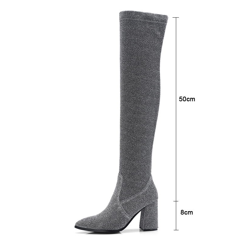 Delle Spessore Ankle Stivali Black Di Sopra Tacchi Del Silver S5aqwUU