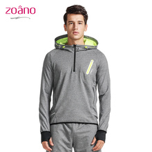 Zoano Men Fitness Running Leisure Free Shuttle Quick Sweater Cotton Polyester Windproof Breathable Hooded Hot Sale Coat