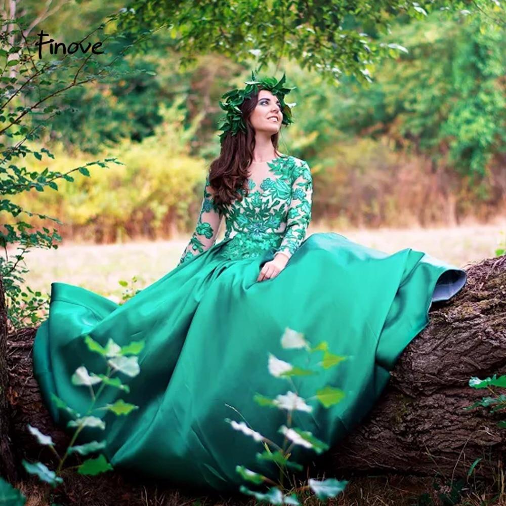 Finove Green Prom Dresses Girls 2019 New Fashionable Elegant Appliques Floor Length Graduation dresses Long Gowns