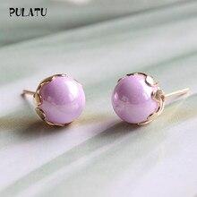 9 Color Fashion Pearl Earrings for Women Minimalist 8mm Bead Rose Gold color Alloy Small Stud Earrings Jewelry PULATU ZZ0302