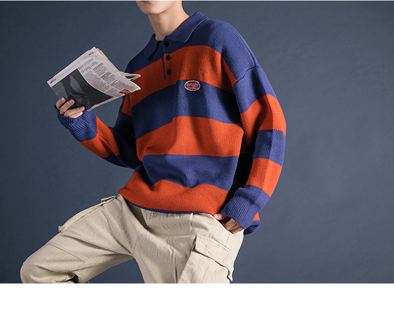 Korean Turtleneck Sweater Men Pullover Streetwear (16)