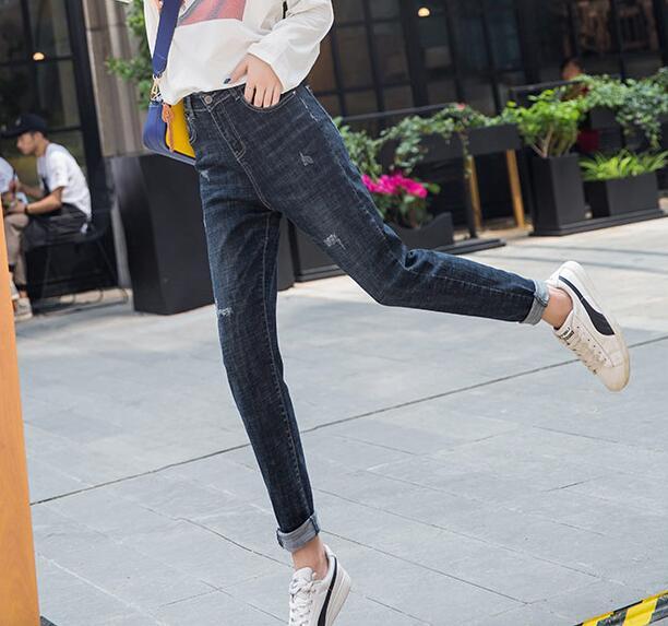 Algodón Para Plus Azul Primavera Casual Jeans Moda Otoño Nueva Suelto Mujeres Yqd0805 Mezcla Denim Pantalones De Capris Agujero Tamaño AYwwqf