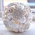 Великолепные Свадебные Цветы Свадебные Букеты Белый Кот Розовый Искусственный Свадебный Букет Кристалл Искра Жемчуг 2016 buque де noiva