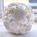 Lindo vestido de Casamento Flores Bouquets de Noiva Branco Marfim Rosa Artificial Buquê De Casamento De Cristal Pérolas Sparkle 2016 buque de noiva