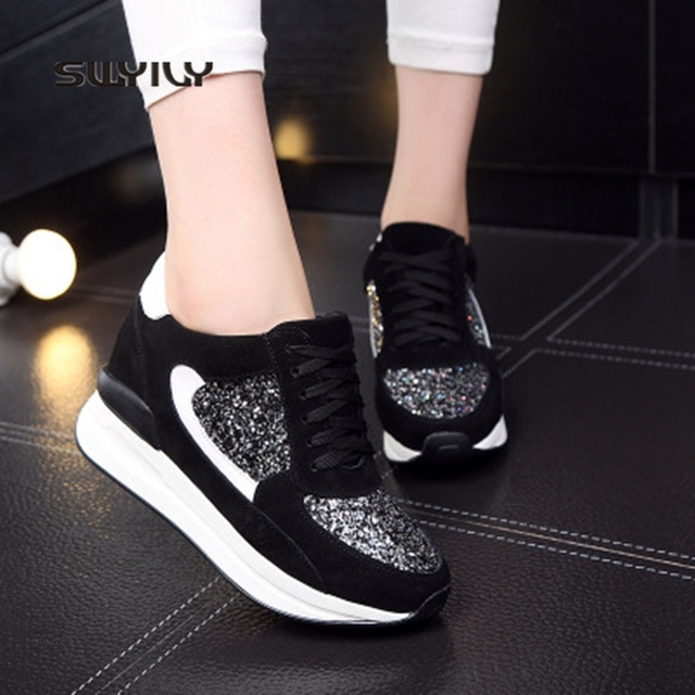 SWYIVY Women Walking Shoes Platform Leather 8CM Height Increasing 2018  Thick Soles Sequin Lace Women Sports 6a0febda085b