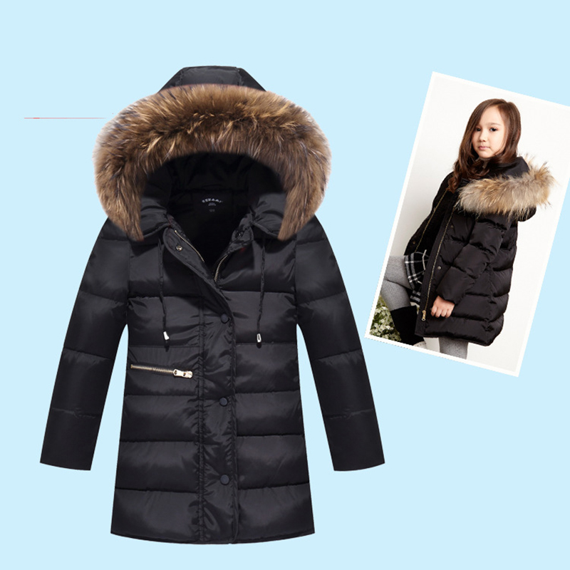 New 2017 Winter Thick Children Long Sections Duck Down Jacket Kids Girls Down Jacket For Winter Hooded Fur Collar Outerwear Coat buenos ninos thick winter children jackets girls boys coats hooded raccoon fur collar kids outerwear duck down padded snowsuit