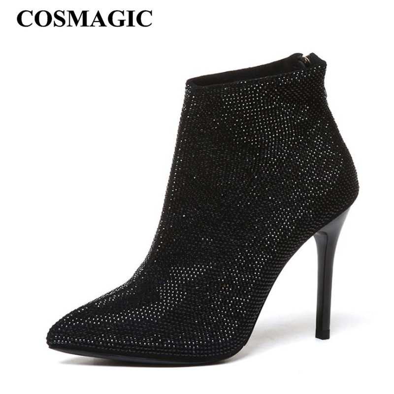 COSMAGIC 2018 New Fashion Women Rhinestone Pointed Toe Ankle Boots Sexy  Black Thin Heel Zip Super 61134f9e64c6