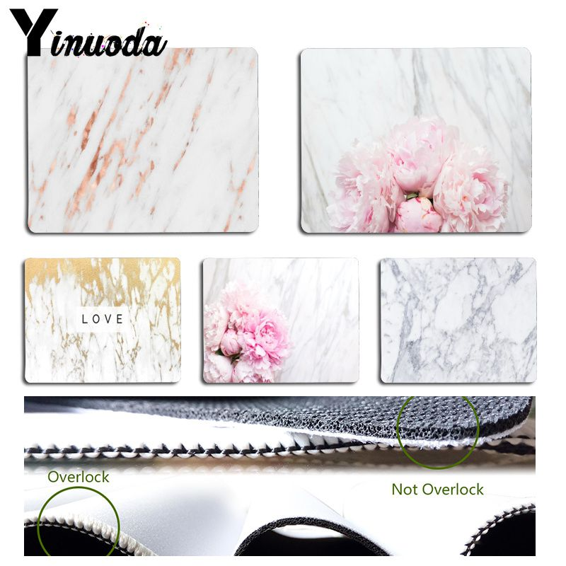 Yinuoda  White Marble Stone With Peony Flower Mouse Pad PC Computer Mat Size For 180x220x2mm And 250x290x2mm Mousepad