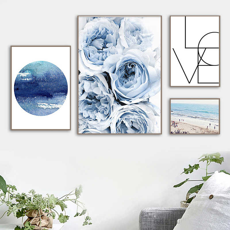 Nordic Canvas Prints Home Decor Soft Blue Peony Flower Beach Wall Art Decorative Posters Scandinavian for Living Room Paintings