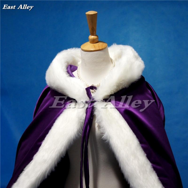 High Quality Purple Bridal Cloak Winter Hooded Faux Fur Trim Satin Wedding Cape Shawl Cape Mantles Manto-in Wedding Jackets / Wrap from Weddings & Events    2