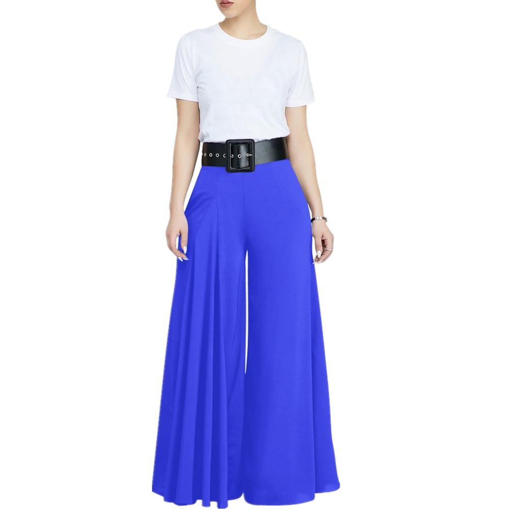 Women Summer Hight Waist   Wide     Leg     Pant   Casual Loose Trousers Ladies Boho Beach White Black Blue   Pants