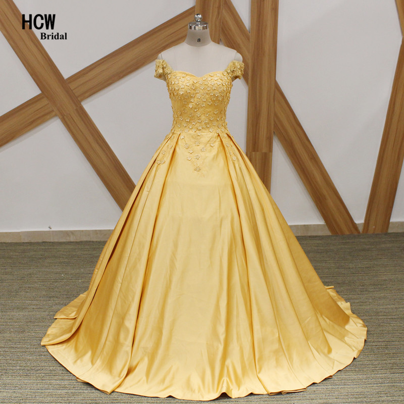 Yellow Ball Gown Evening Dress With Flowers 2018 Cap