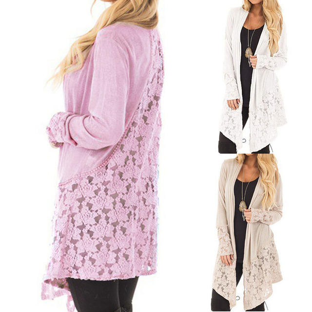 Plus Size Lace Cardigan Women s Long Sleeve Sweater Long Shawl Knitwear  Thin Jumper Coat Sunscreen Shirt Women Cardigan S-5XL e018be48d