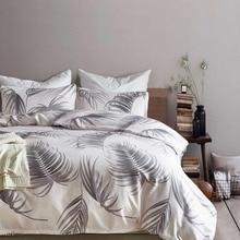 Grey Feather Bedding Set Tropical Palm Leaf Bed Linens Modern Light Pink Duvet Cover Sets 3pcs Elegant Chic Adults Home Textiles