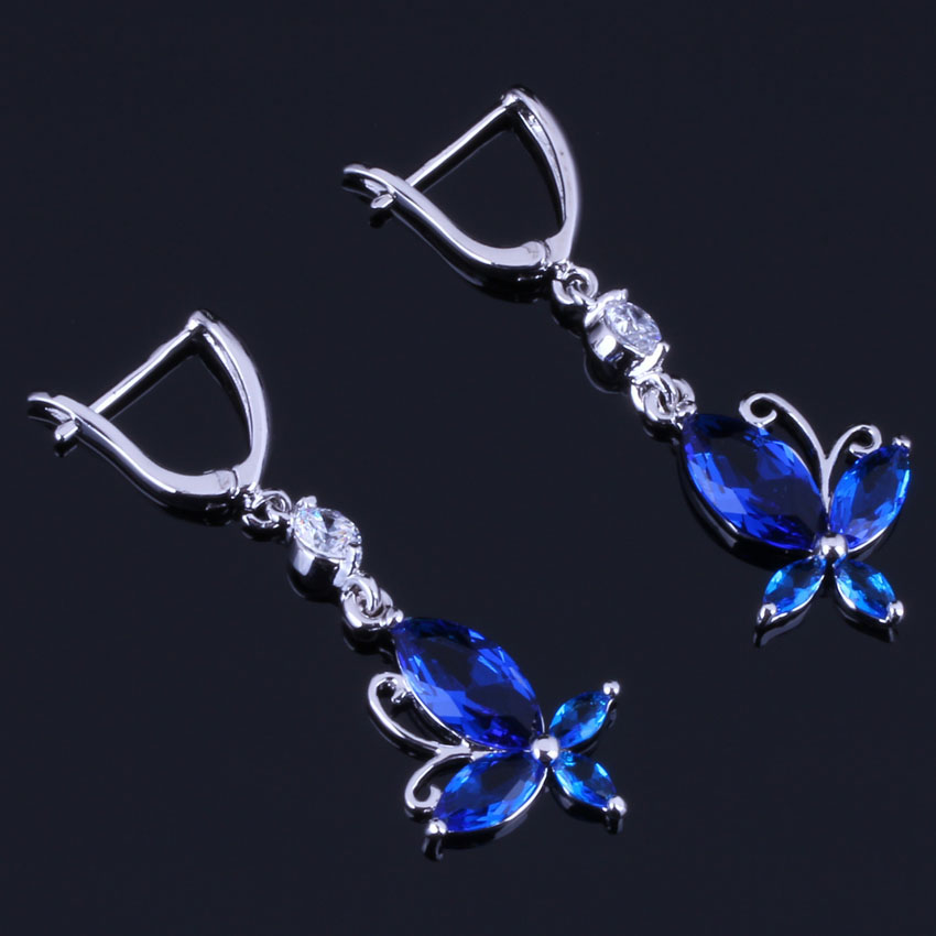 Excellent Butterfly Blue Cubic Zirconia White CZ 925 Sterling Silver Drop Dangle Earrings For Women V0805 in Drop Earrings from Jewelry Accessories