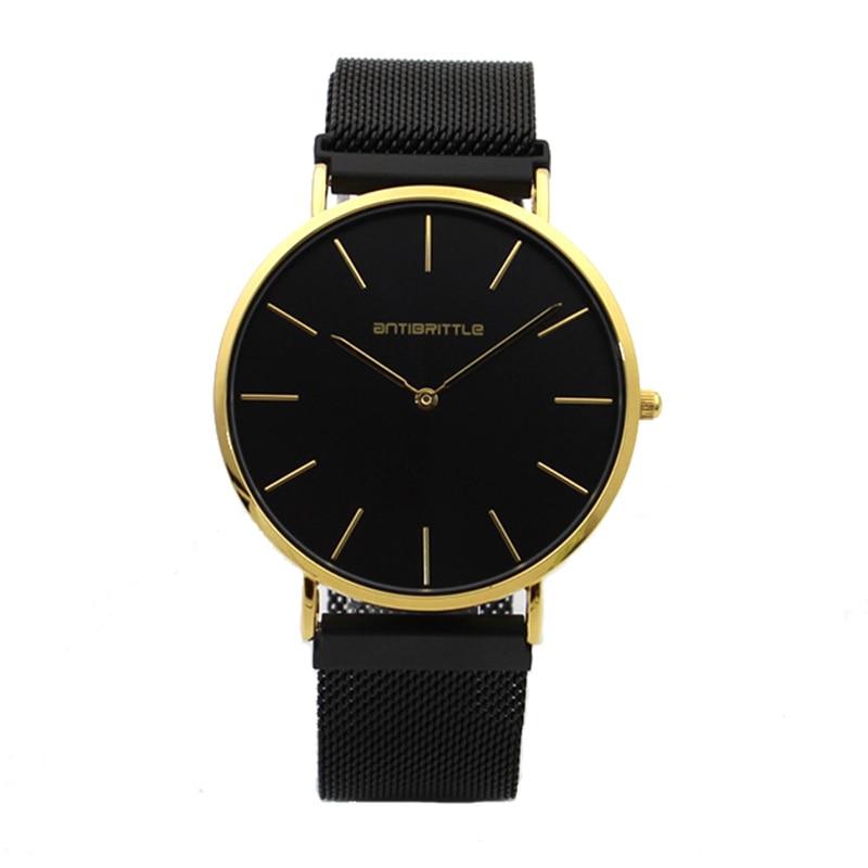 Japón cuarzo de moda de lujo mujeres reloj hombres minimalista Oro Negro  malla fina imán de acero inoxidable correa de cuero antibrittle 6mm 4c7f58059bb0