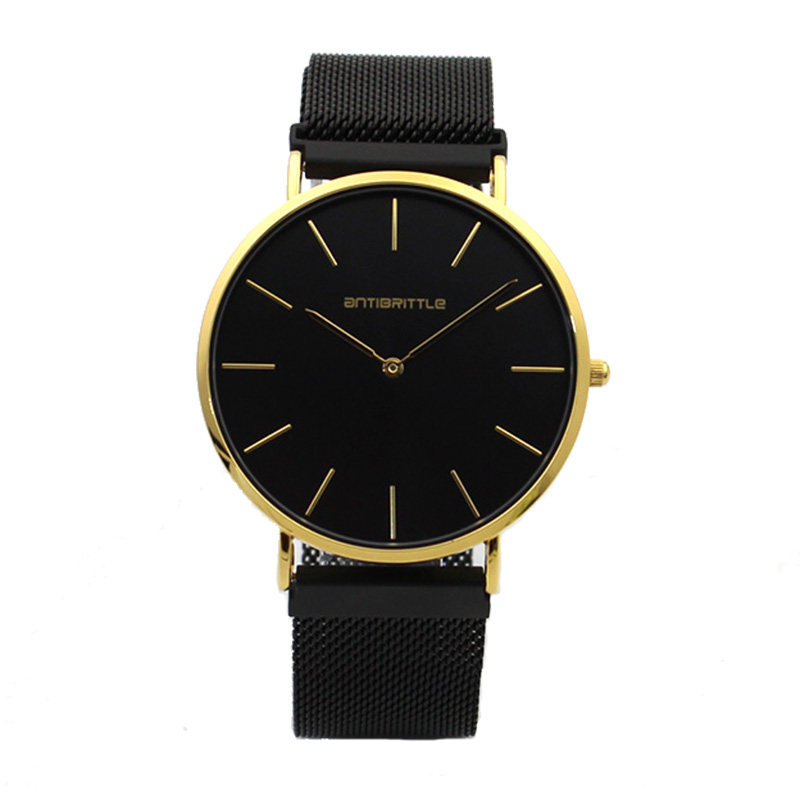 Quartz Luxury Women Watch Män Svart Guld Ultra Smal Mask Rostfritt - Damklockor