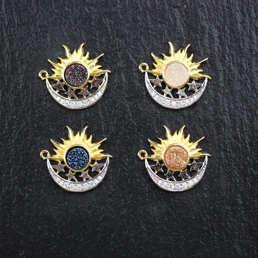 10PCS Golden Silver Plated Sun Moon and Star Charms Findings Titanium Druzy Achate Coin Shape Accessory