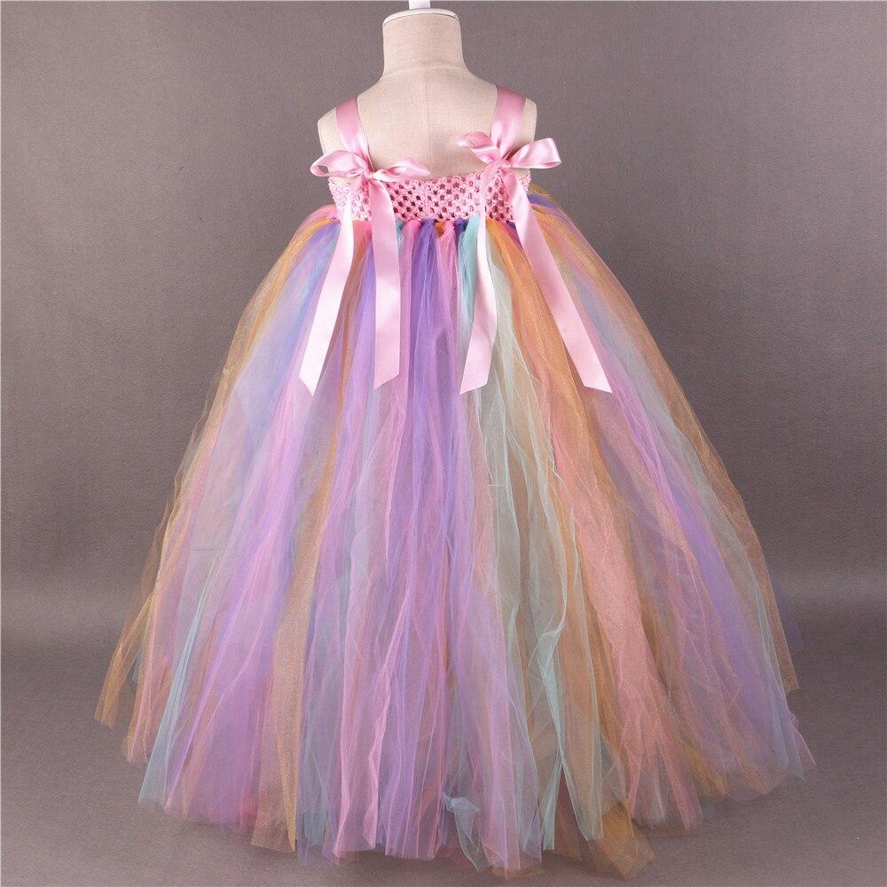 Arc-en-ciel fleur fille Tutu robe princesse enfants filles Tulle robes de fête Boutique enfants filles reconstitution historique robe de bal de mariage - 2
