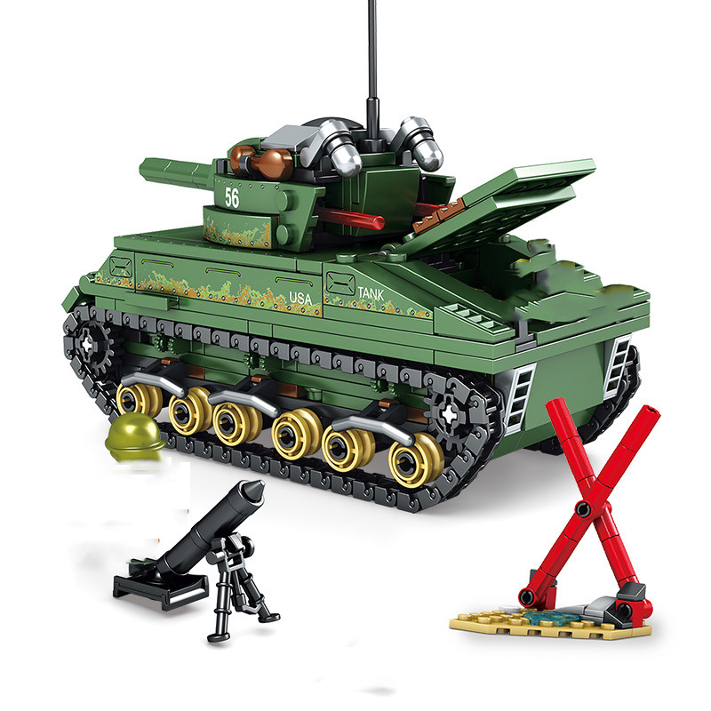 Military-World-War-2-Sherman-Medium-Tank-Building-Blocks-Compatible-City-Army-WW2-Weapons-Enlighten-Bricks (1)