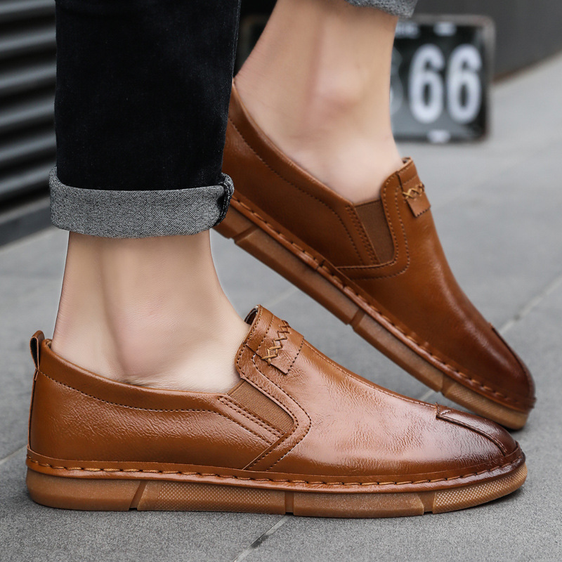 2019 spring and summer explosions men 39 s casual shoes leather shoes British trend Korean lazy peas shoes set feet in Men 39 s Casual Shoes from Shoes