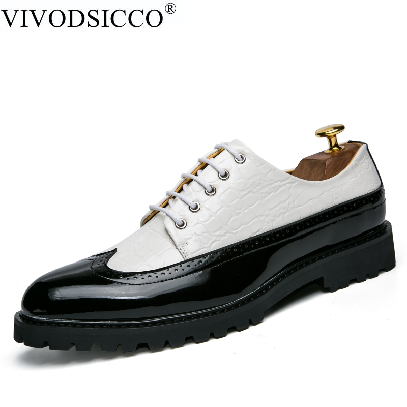 VIVODSICCO Fashion PU Leather Men Dress Shoes Pointed Toe Bullock Oxfords Shoes For Men, Lace Up Designer Luxury Men Shoes qffaz new fashion mens formal dress shoes pointed toe genuine leather bullock oxfords shoes lace up designer luxury men shoes