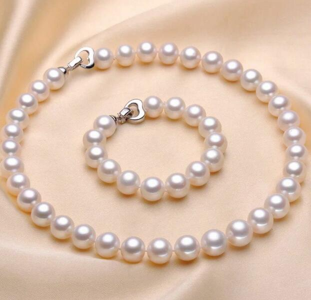 classic 11-13 mm round white pearl necklace 20&bracelet 8setclassic 11-13 mm round white pearl necklace 20&bracelet 8set