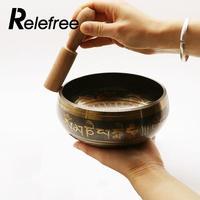 Relefree Exquisite Tibetan Bell Metal Singing Bowl Striker For Buddhism Buddhist Meditation Healing Relaxation Pattern Random