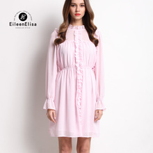 Runway Elegant Dress 2017 Women High Quality Designer Luxury Ruffle Pink Spring Dresses