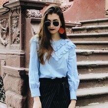 Sytiz оборками рубашка с длинными рукавами с круглым вырезом синие повседневные женская рубашка осень 2017 г. тенденции моды 90 s опрятный Рубашки
