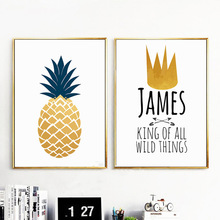 Beauty Nordic Minimalist Fruit Pineapple Letter Scape Home Decor Painting Space Wall Art For Living Room Poster Canvas Unframe