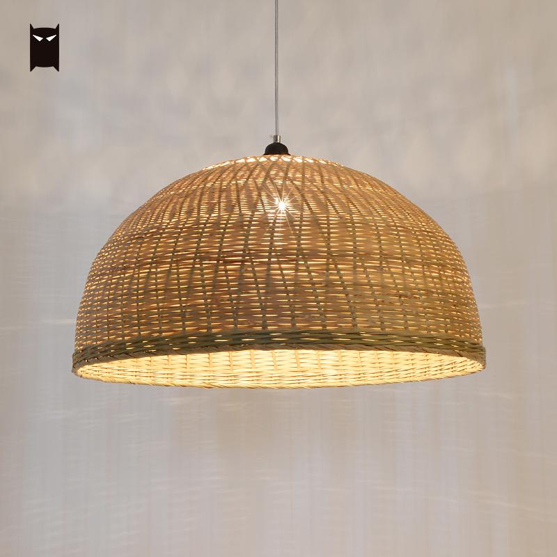 60cm Bamboo Wicker Rattan Ripple Pendant Light Fixture Chinese Modern Suspension Lamp Design for Foyer Dining Table Living Room bamboo wicker rattan miss skirt shade pendant light fixture nordic art deco suspension lamp luminaria salon dining table room