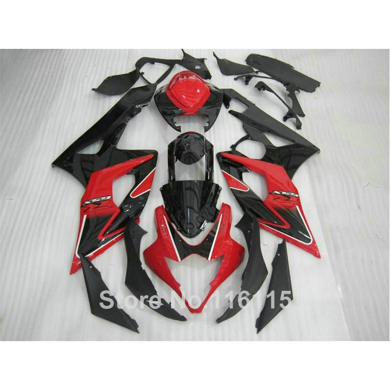 Injection molding fairing kit fit for SUZUKI K5 K6 GSX-R1000 2005 2006 GSXR1000 05 06 red black motorcycle fairings SL81 abs full fairing kit for suzuki injection molding k5 gsxr1000 2005 2006 red flames black fairings set gsxr 1000 05 06 yq67 cowl