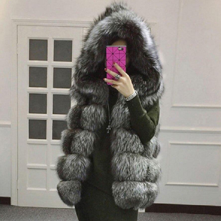 2018 nouveau gilet de fourrure imitation argent manteau de fourrure de renard à capuche gilet à rayures verticales moyen-long gilet grande taille femmes fausse fourrure gilet manteau