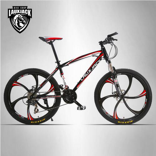 LAUXJACK Mountain bike steel itself 24 speed Shimano mechanical disc brakes 26 alloy wheels